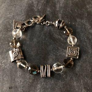 Silpada Smoky Quartz Crystal & Sterling Bracelet